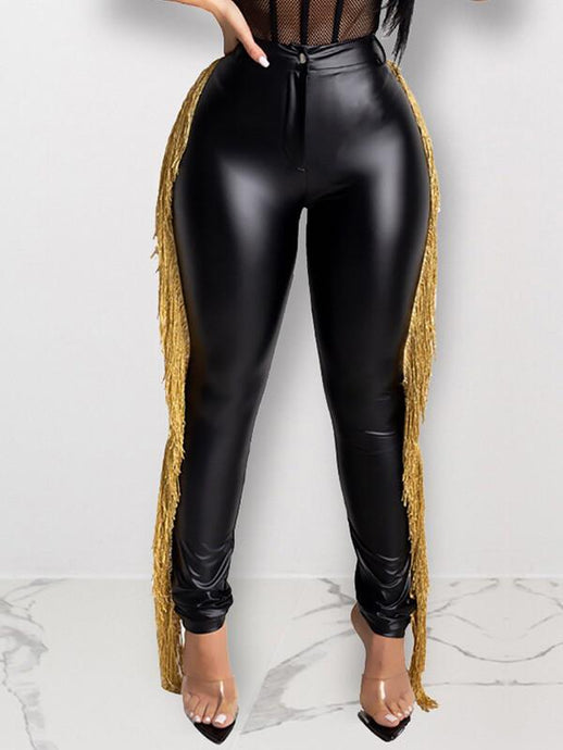 Golden Fringe Combo PU Pants