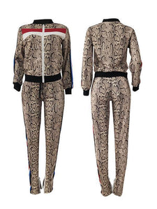 Snake Print Combo Jacket & Side-Stripe Pants Set