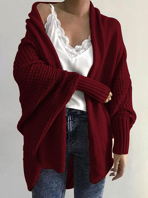Knit Batwing-Sleeve Cardigan