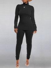 Load image into Gallery viewer, Solid Turtleneck Top & Pants Set
