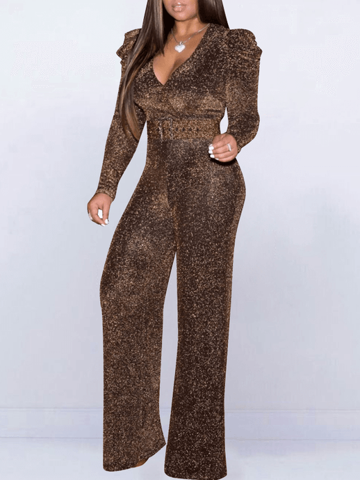 Gleam V-Neck Belted Jumpsuit - only Coffee/2XL left