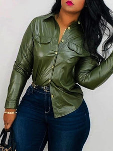Faux Leather & Pockets Shirt