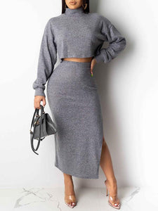 Turtleneck Crop Top & Skirt Set - only grey left