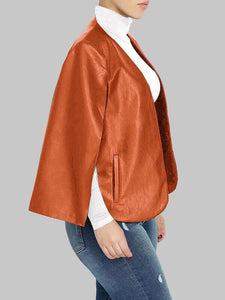 Faux Leather Cape Jacket