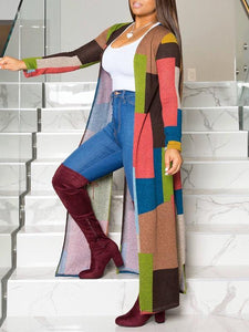 Colorblock Side-Slit Cardigan