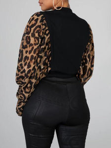 Leopard Puff Sleeve Top