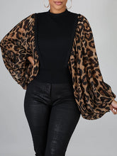 Load image into Gallery viewer, Leopard Puff Sleeve Top