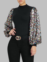 Load image into Gallery viewer, Sequin Puff-Sleeve Top