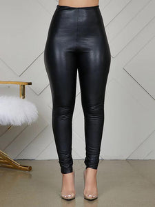 High-Waist Faux-Leather Leggings