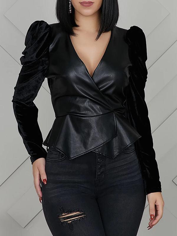 V-Neck Velvet Sleeve Peplum Top