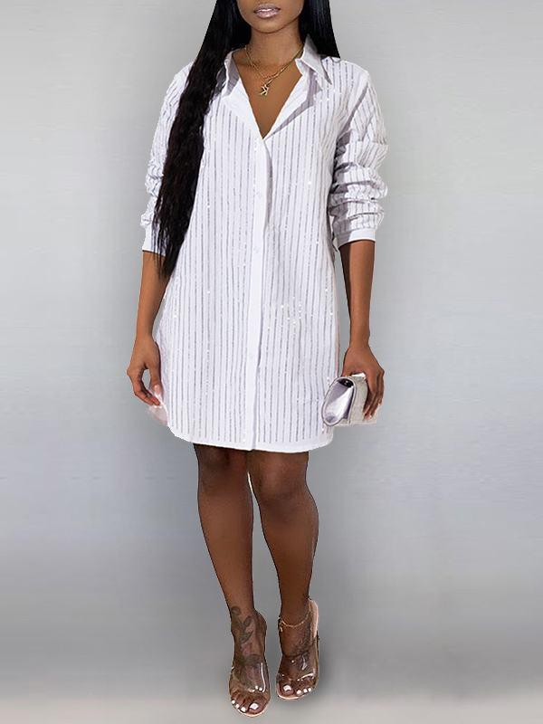 Studded Stripe Shirt Dress - clearance