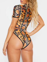 Load image into Gallery viewer, Printed Zip-Front Swimsuit
