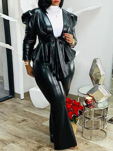 Faux-Leather Tied Top & Pants Set