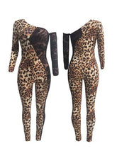 Load image into Gallery viewer, Lace-Combo Leopard-Print Jumpsuit