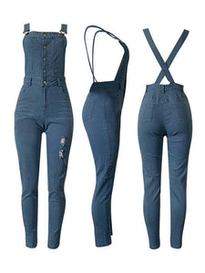 Button-Front Ripped Denim Overalls