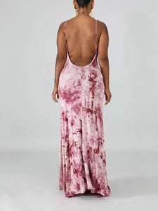 Printed Cami Backless Maxi Dress - Only Purple / L Left