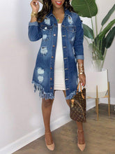 Load image into Gallery viewer, Distressed Fringe Denim Jacket