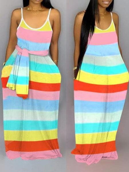 Multicolor Stripe Cami Dress - clearance