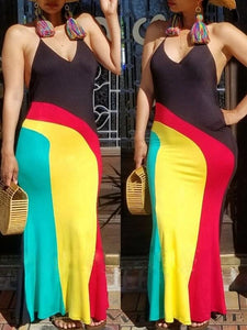 Colorblock Halter Maxi Dress
