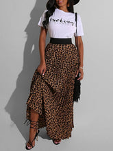 Load image into Gallery viewer, Slogan Tee & Leopard Skirt Set