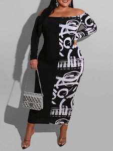 Graffiti Combo Off-Shoulder Dress