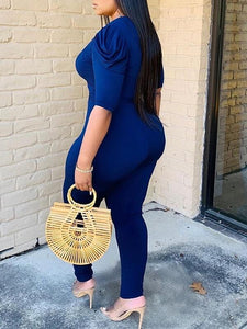 V-Neck Puff-Sleeve Jumpsuit - clearance