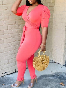 V-Neck Puff-Sleeve Jumpsuit