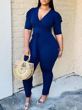 Load image into Gallery viewer, V-Neck Puff-Sleeve Jumpsuit - clearance