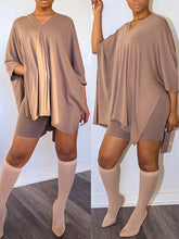 Load image into Gallery viewer, V-Neck Batwing Top & Shorts Set
