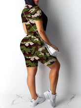 Load image into Gallery viewer, Camo Tee & Biker Shorts Set