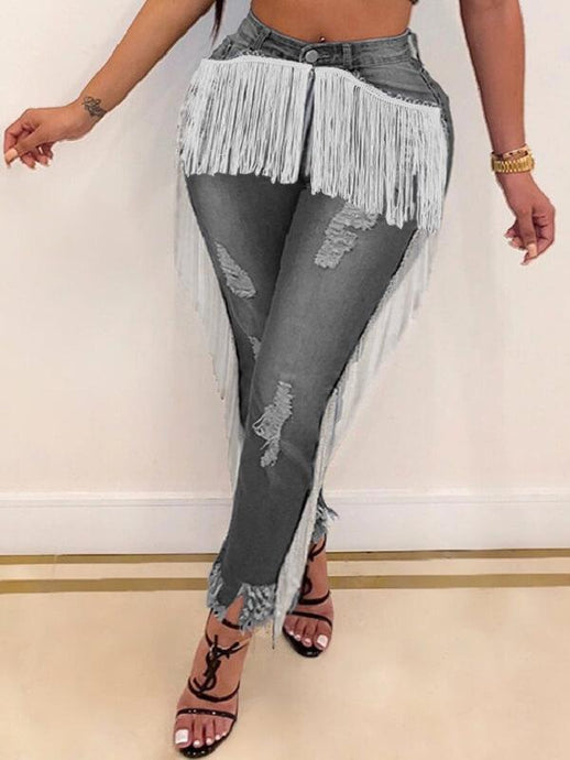 Fringe Combo Distressed Jeans