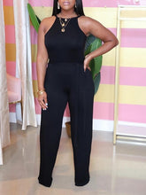 Load image into Gallery viewer, Solid Halter Belted Jumpsuit