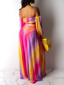 Sheer Bandeau Top & Slit Skirt Set