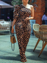 Load image into Gallery viewer, Leopard One-Shoulder Jumpsuit