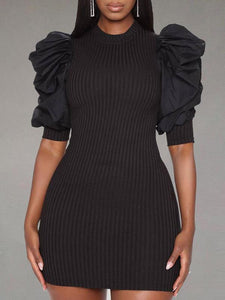 Puff-Sleeve Ribbed Dress