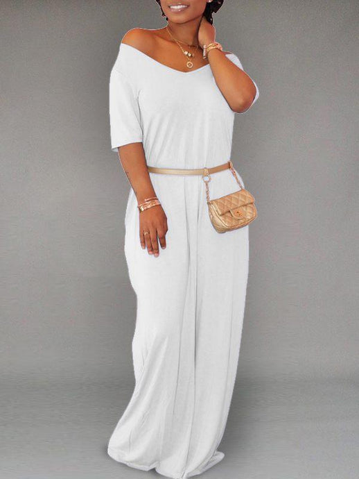 Solid V-Neck Maxi Dress - only White / 3XL left