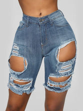 Load image into Gallery viewer, Fringe Ripped Denim Shorts