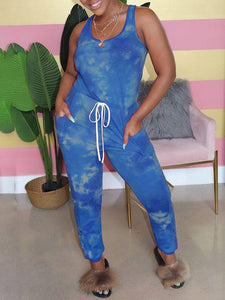 Tied-Front Sleeveless Jumpsuit