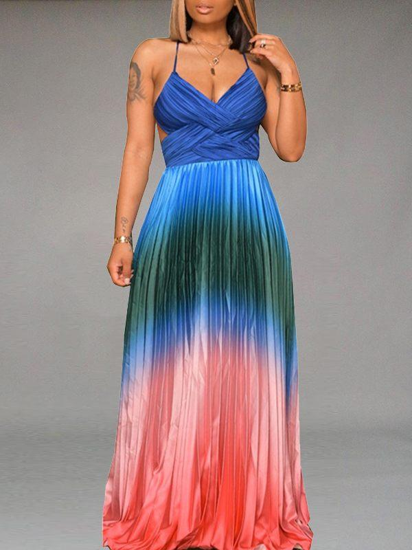 Multicolor Backless Pleated Dress