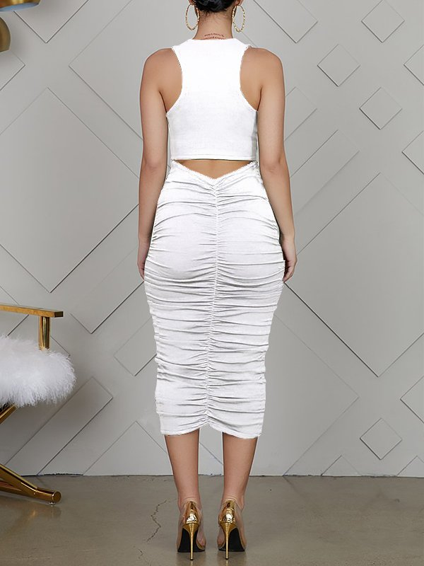 Ruched Cut-out Back Dress