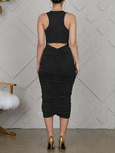 Load image into Gallery viewer, Ruched Cut-out Back Dress