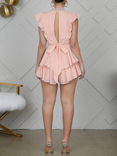 Load image into Gallery viewer, Lace-Combo Ruffle Romper