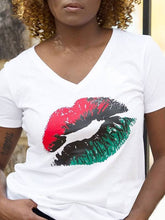 Load image into Gallery viewer, Lip-Print V-Neck Tee