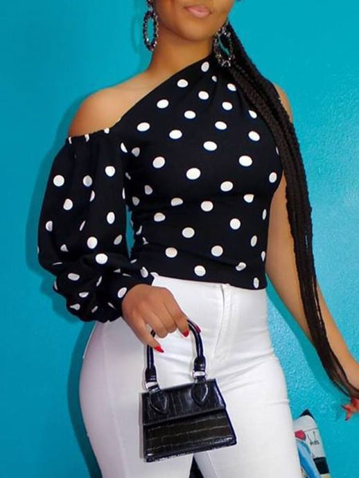 Dot Puff-Sleeve Top
