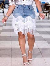 Load image into Gallery viewer, Tassel Combo Denim Skirt
