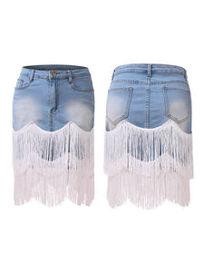 Tassel Combo Denim Skirt