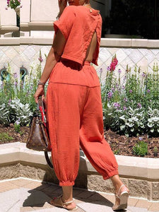 Open-Back Harem Jumpsuit