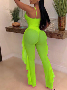 Cutout One-Piece With Sheer Pants