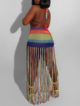 Load image into Gallery viewer, Multicolor Bikini Top & Fringe Skirt Set
