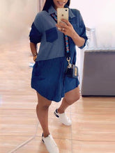 Load image into Gallery viewer, Two-Tone Combo Denim Shirt Dress